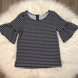 Blue and white stripped top with fringe sleeves
